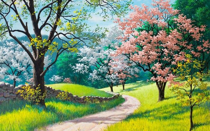 Hermosas pintura primavera carreteras rboles hierba for Fondo de pantalla primavera
