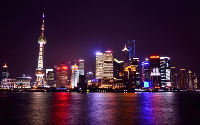 Fondos De Escritorio Parque De Navidad Hd Ciudades Del: Shanghai, China, Noche, Ciudad, Luces, Rascacielos, Río
