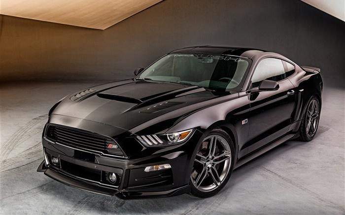 2015 Ford Mustang Coche Negro Vista Frontal Hd Fondos De