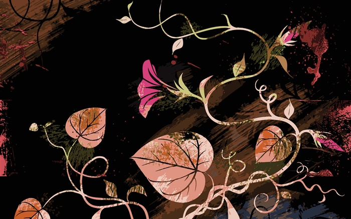 Fondo De Pantalla Abstracto Flores Y Circulos: Hojas, Flores, Cuadros Abstractos HD Fondos De Pantalla