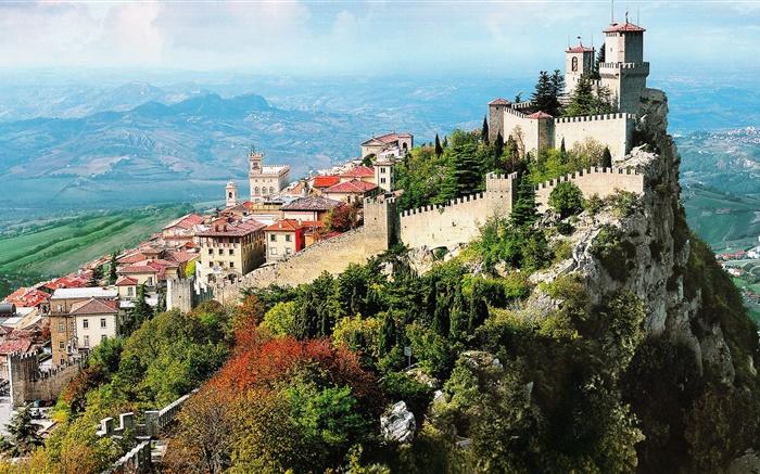 Fondos De Escritorio Parque De Navidad Hd Ciudades Del: Italia, Ciudad, Montaña, Ciudad, Castillo, Acantilado HD