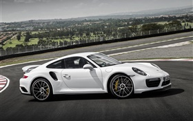 vista lateral coupé blanco Porsche 911 Turbo S HD fondos de pantalla